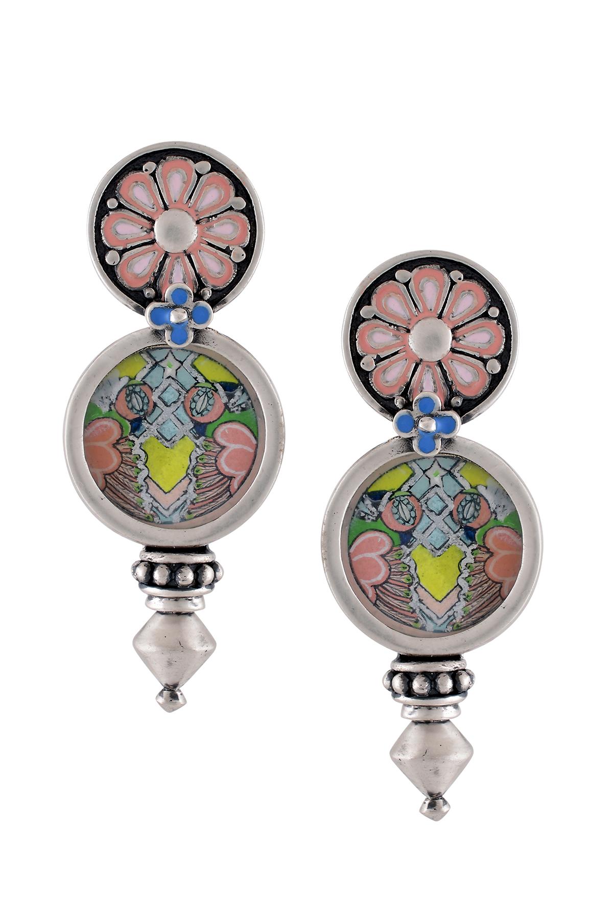 Hand Painted Chandrika Pink Enamel Coin Earrings