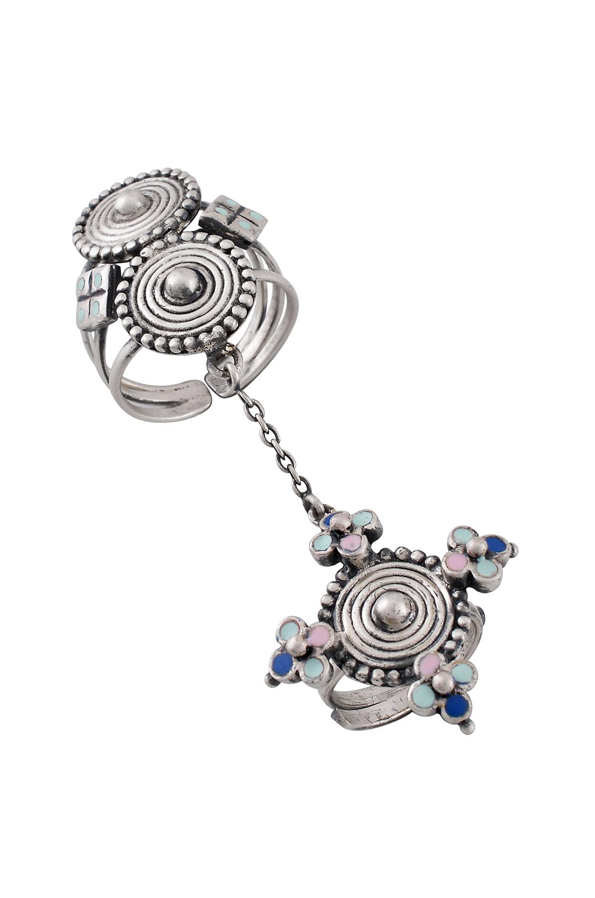 Multi Enamel Chandrika Coin Knuckle ring