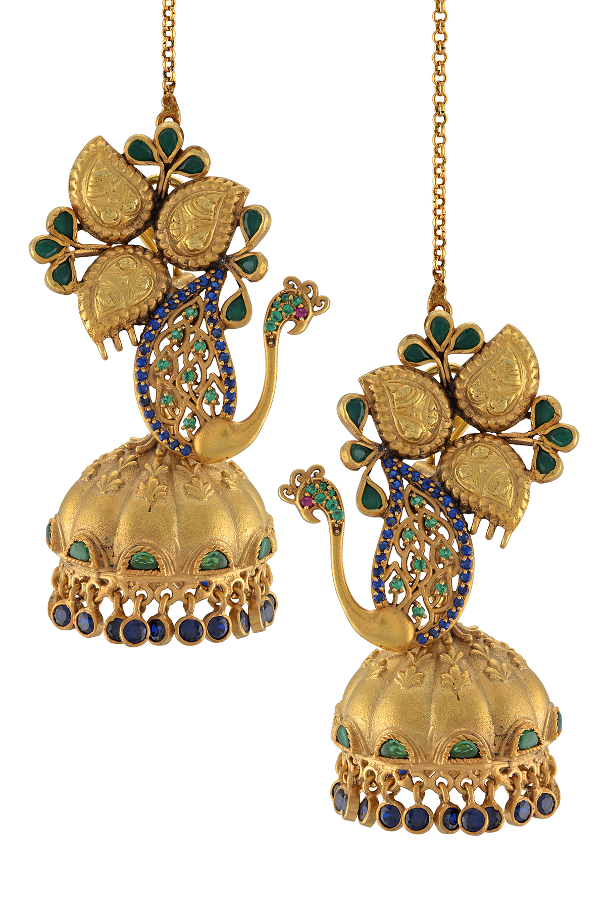 Silver Gold Plated Peacock Leafy Jhumka Earrings