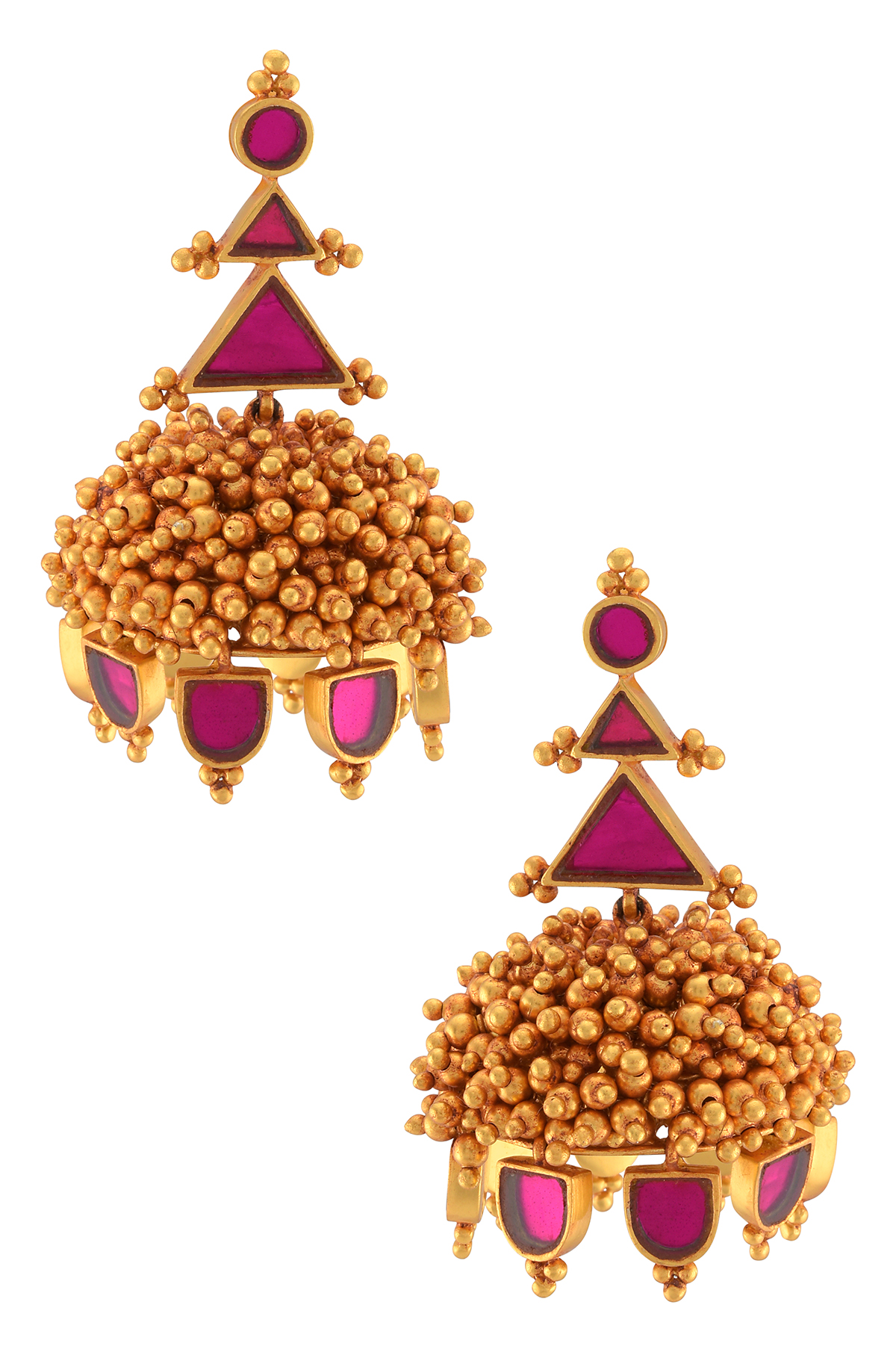 Gold Plated Pink Glass Rawa Ball Cluster Jhumka