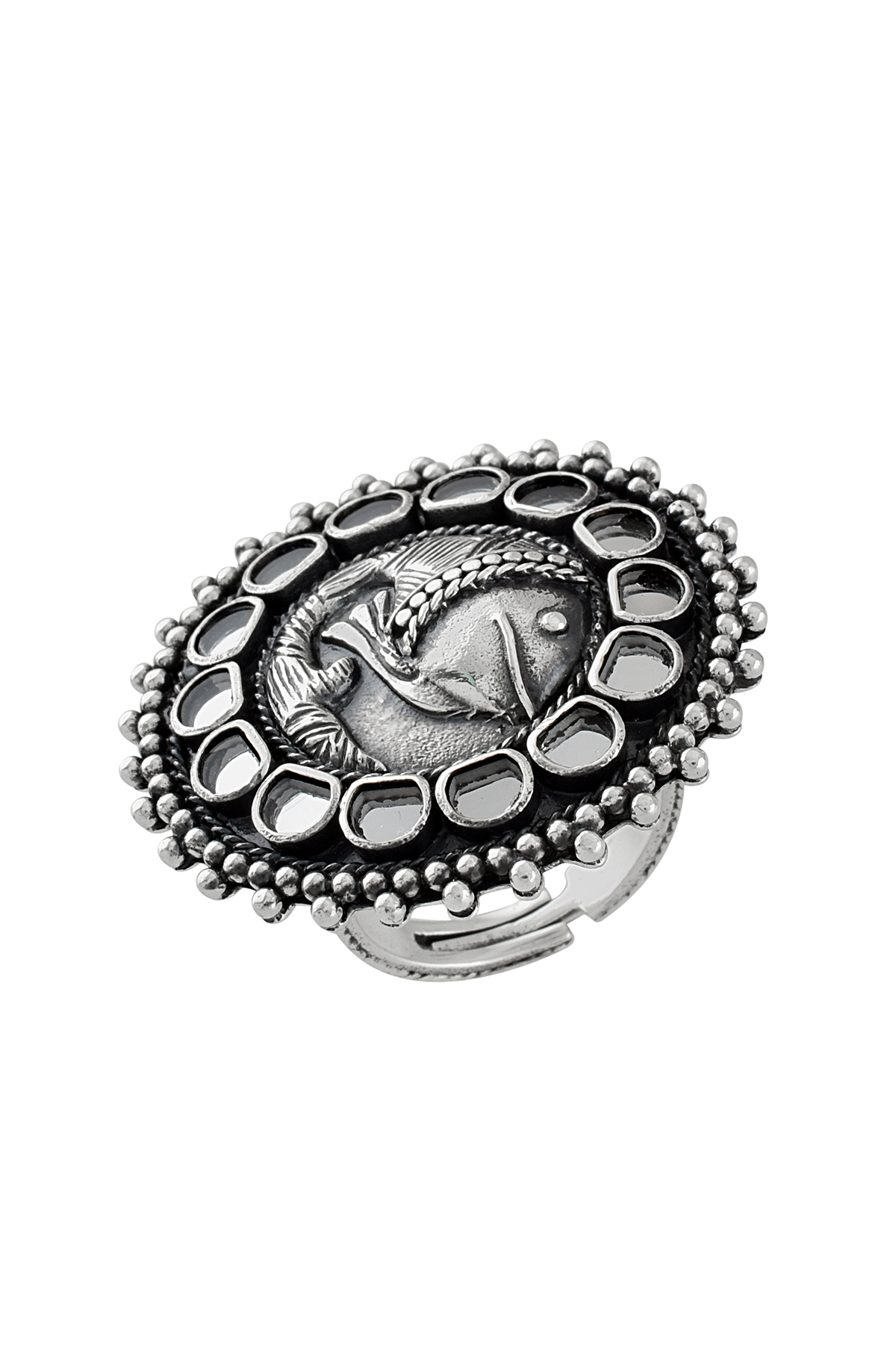 Silver Oxidised Fish Motif Rawa Mirror Adjustable Ring
