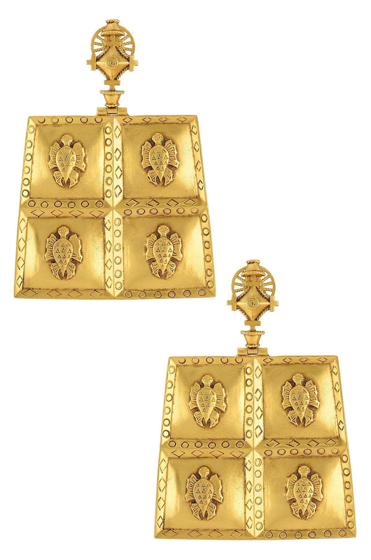 Gold Plated Turtle Folk Tale Masaba Earrings