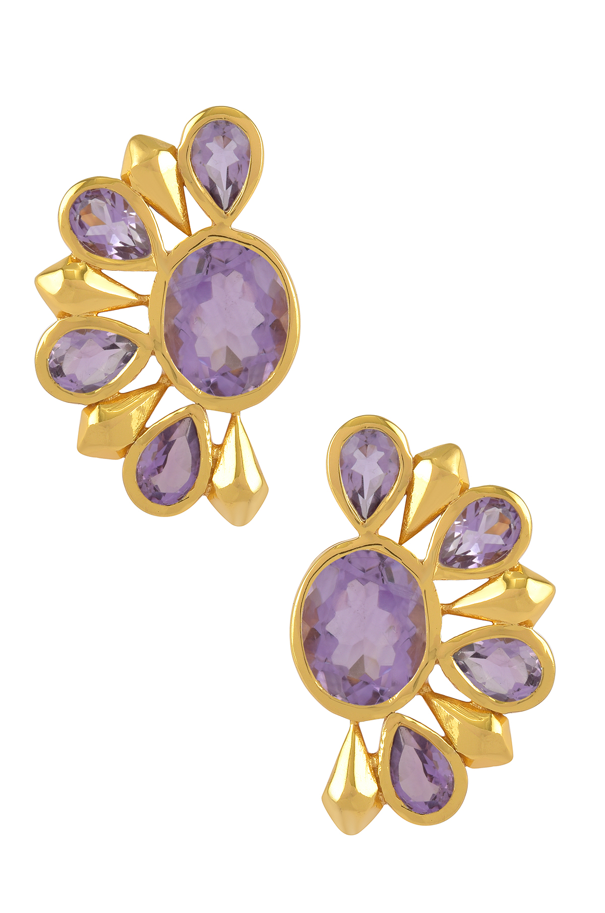 Silver Gold Plated Amethyst Floral Ear Studs