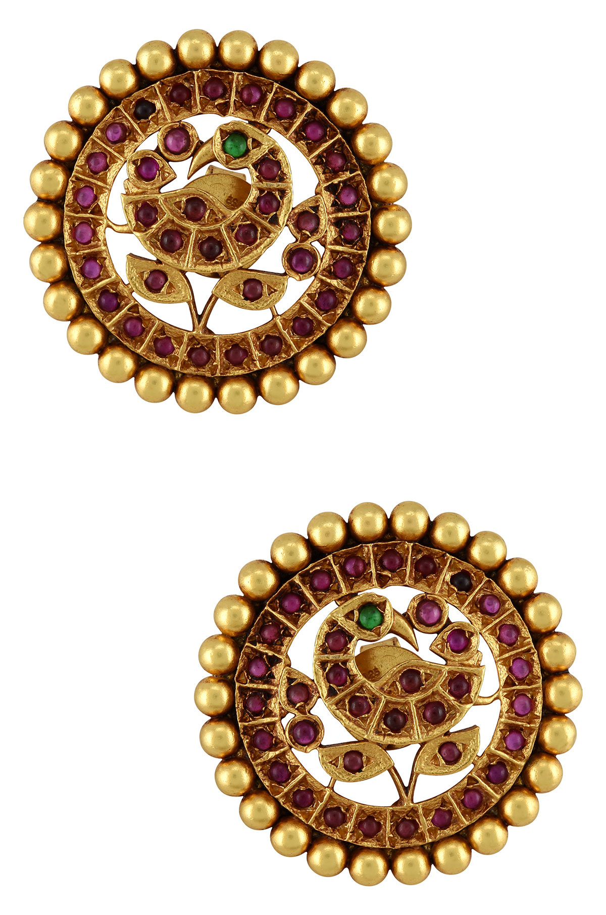 Silver Gold Plated Mayura Ear Studs