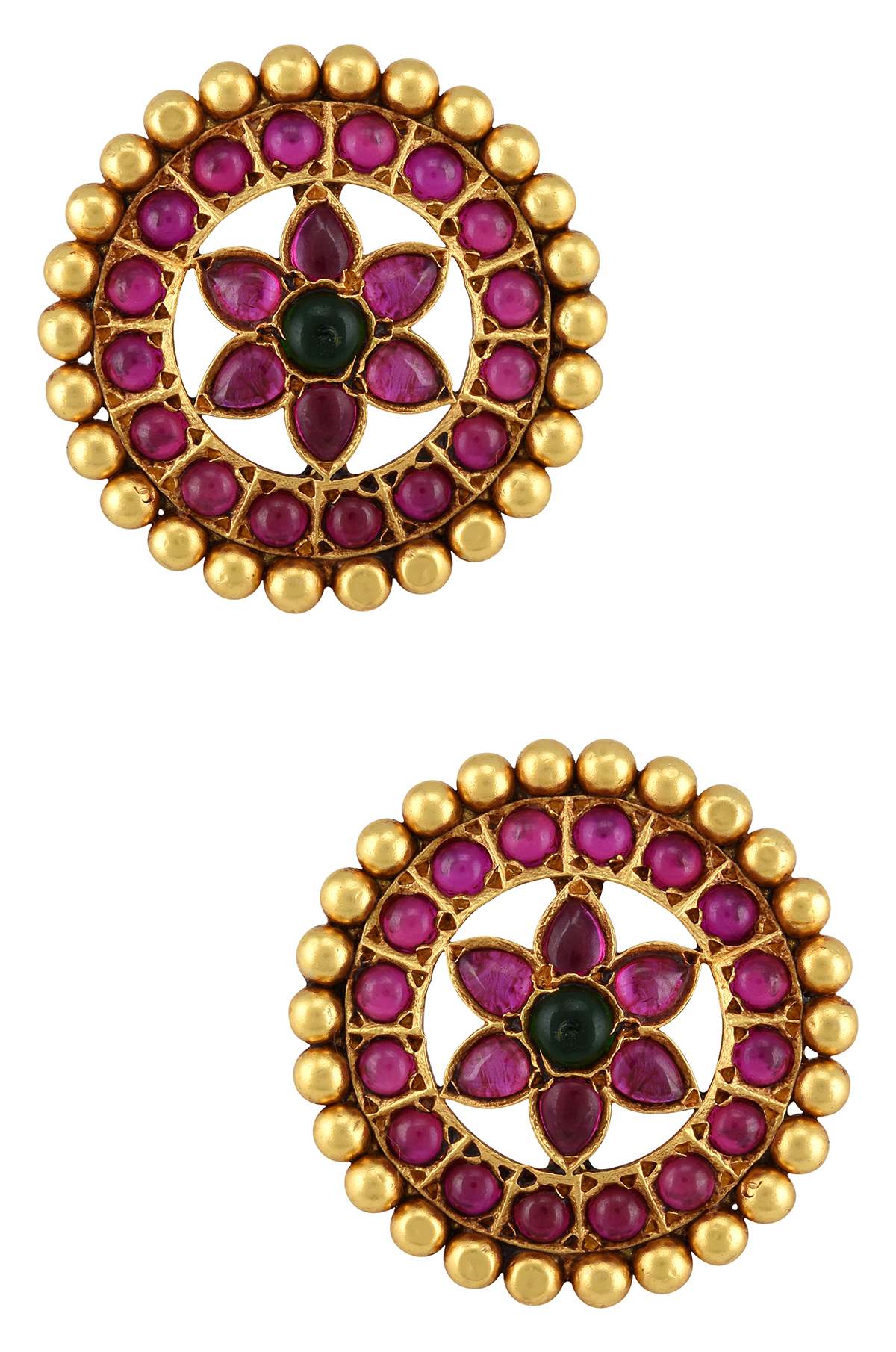 Silver Gold Plated Pink Flower Ear Studs