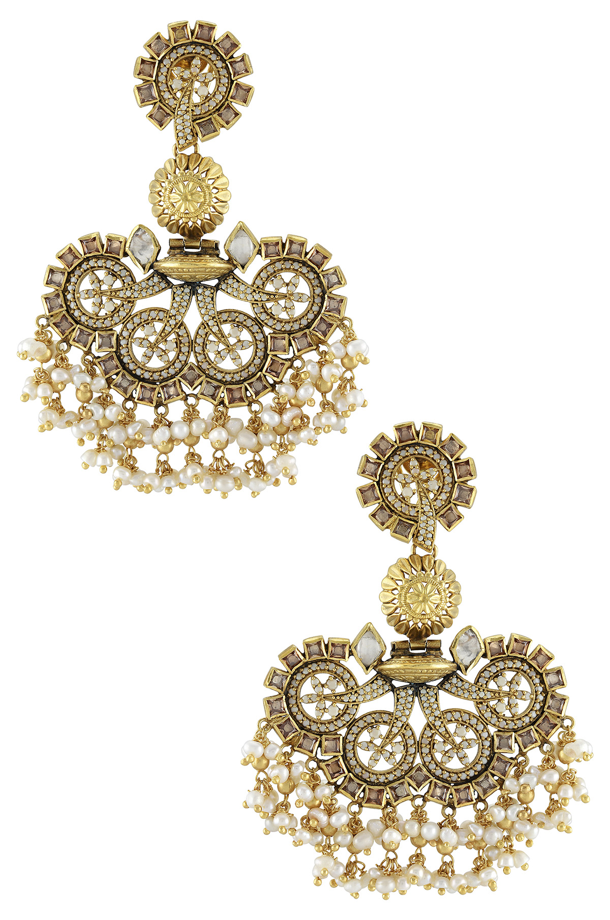 Silver Gold Plated Floral Glass Pearl Atulya Earrings