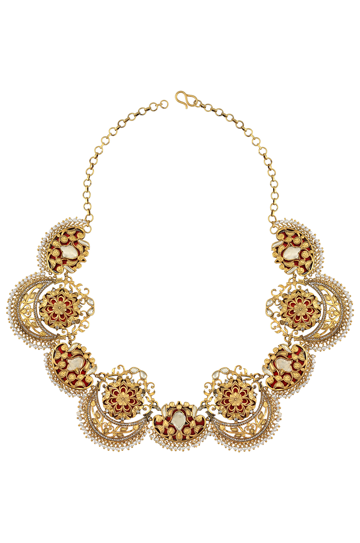 Silver Gold Plated Flower Moon Atulya Necklace