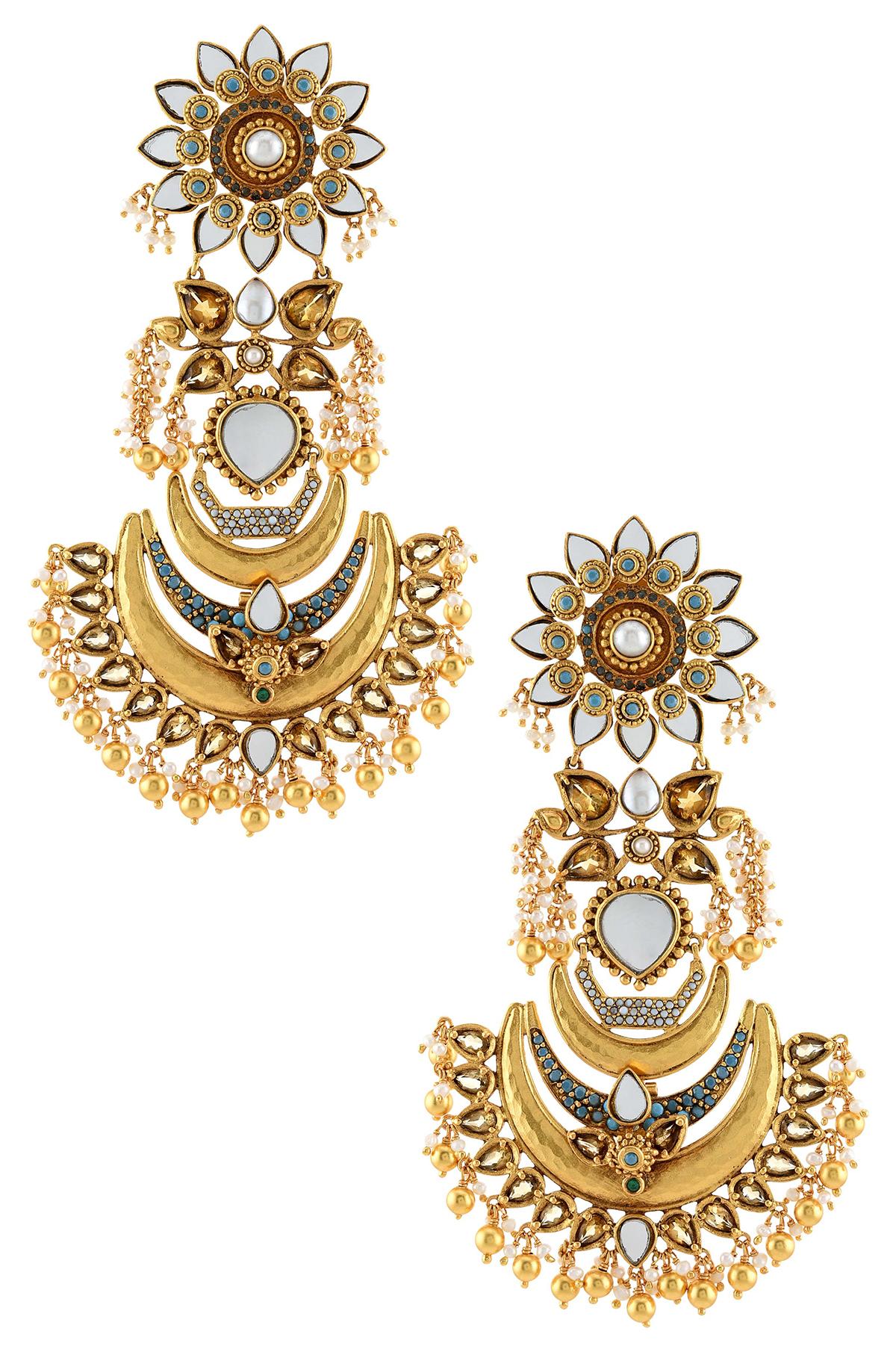 Silver Gold Plated Suryakamal Chandbalis
