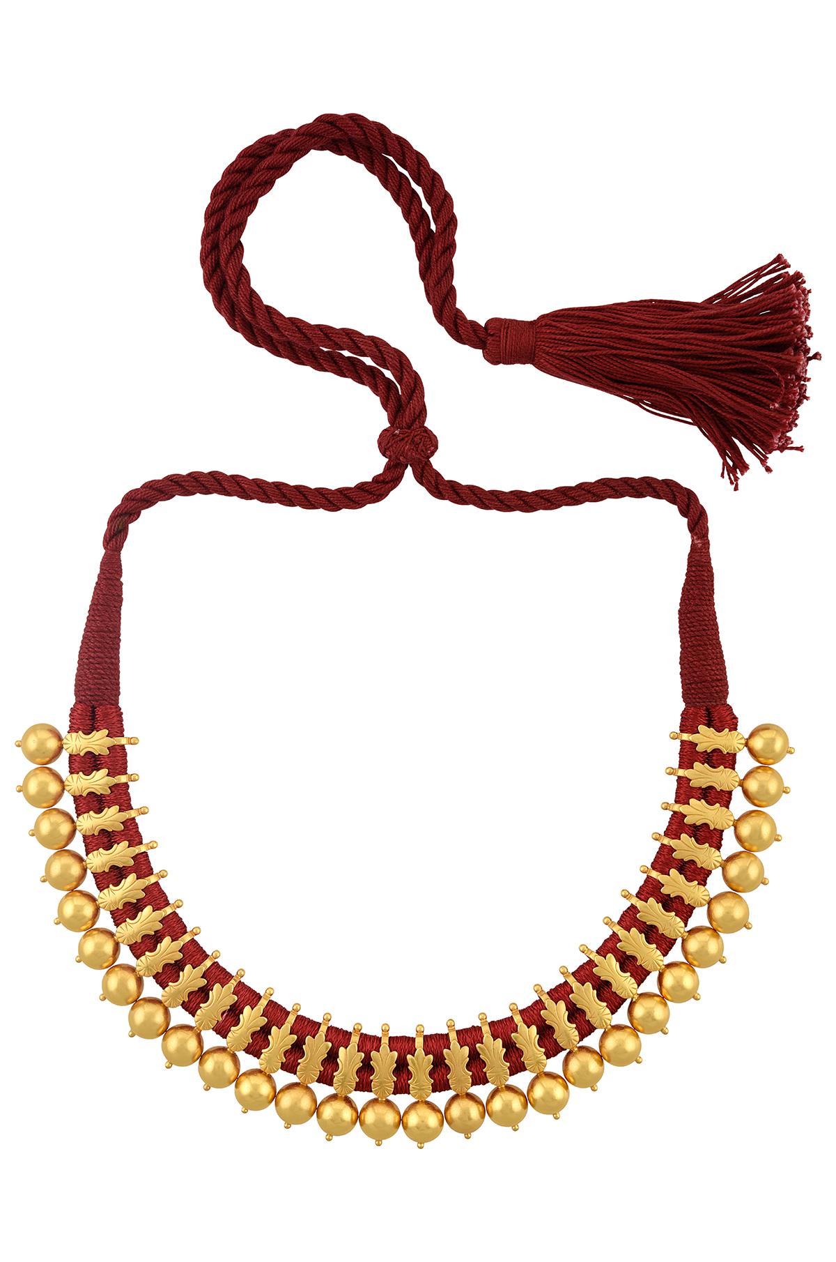 Silver Gold Plated Floral Round Bead Red Thread Necklace